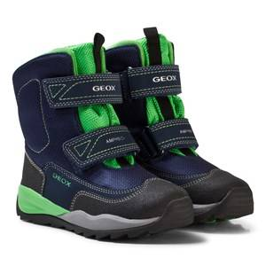Geox Boys Boots Navy Navy and Lime Branded High Orizont Snow Boots