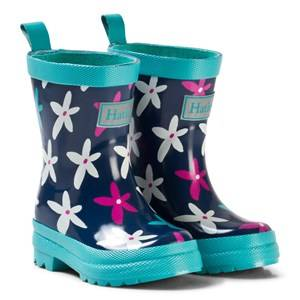 Hatley Girls Boots Navy Graphic Flowers Classic Rain Boots