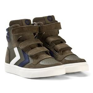 Hummel Unisex Sneakers Green Stadil Leather Jr Trainers Olive Night