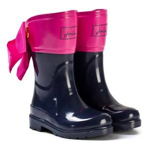Tom Joule Girls Boots Navy Navy and Pink Bow Detail Wellies