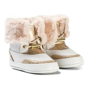 Michael Kors Girls Shoes Gold White and Gold Glitter Zia Baby Lulu