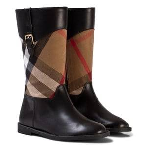 Burberry Girls Boots Black Black and Classic Check Mini Copse Leather Boots