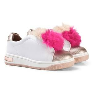 Michael Kors Girls Sneakers Pink Pink Faux Fur Pom Pom Zia Tatum Slip On Trainers
