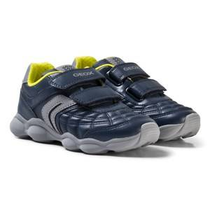 Geox Boys Sneakers Navy Navy and Lime Junior Munfrey Velcro Trainers