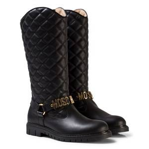 Moschino Kid-Teen Girls Boots Black Black Leather Quilted Branded Tall Boots