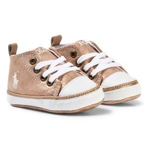 Ralph Lauren Boys Sneakers Pink Pink Shimmer Logo Crib Shoes