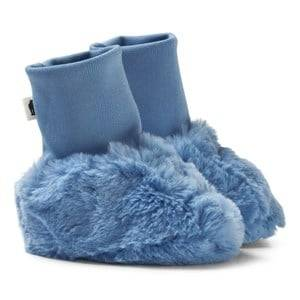 Mini Rodini Unisex Boots Blue Faux Fur Baby Booties Light Blue