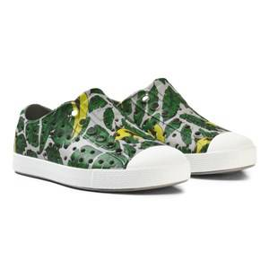Native Unisex Sneakers Green Banana Leaf Print Jefferson Rubber Trainers