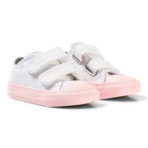 Converse Girls Sneakers White White Chuck II All Star Velcro Trainer with Pink Sole