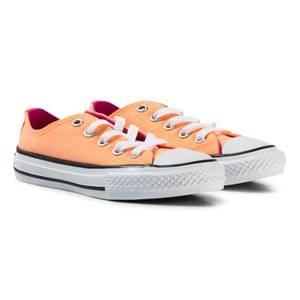 Converse Girls Sneakers White Orange Chuck Taylor All Star Double Tongue Junior Trainers