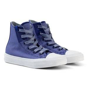 Converse Boys Sneakers White Blue Chuck Taylor All Star II Junior Hi Tops Sneakers