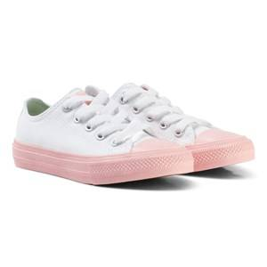Converse Girls Sneakers White White Chuck II All Star Sneaker with Pink Sole