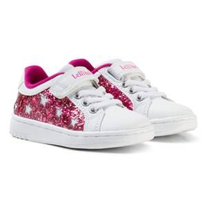 Lelli Kelly Girls Sneakers Pink White and Pink Star Glitter Velcro Trainers