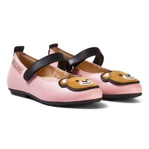 Moschino Kid-Teen Girls Shoes Pink Pink Leather Bear Applique Pumps