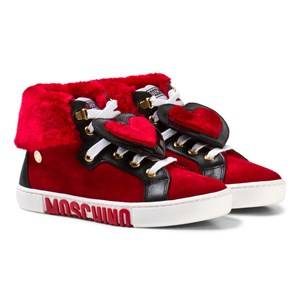 Moschino Kid-Teen Girls Sneakers Red Red Suede and Faux Fur Heart High Top Trainers