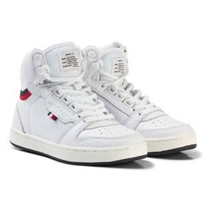 Tommy Hilfiger Boys Sneakers White White Branded Lace Leather High Top Trainers