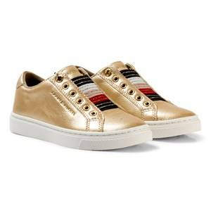 Tommy Hilfiger Girls Sneakers Gold Gold Metallic and Glitter Slip On Trainers