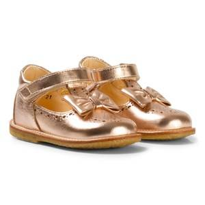 Angulus Girls Shoes Gold Rose Gold Bow Detail Mary Janes