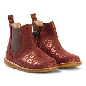 Angulus Girls Boots Brown Brown and Bronze Animal Print Zip Chelsea Boots
