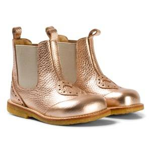 Angulus Girls Boots Pink Rose Gold Heart Brogue Chelsea Boots