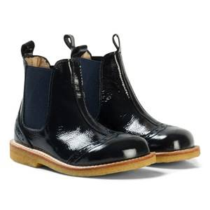 Angulus Girls Boots Navy Navy Patent Brogue Chelsea Boots