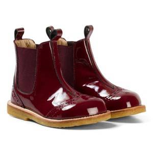 Angulus Girls Boots Red Burgundy Patent Brogue Chelsea Boots
