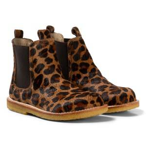 Angulus Girls Boots Brown Dark Leopard Print Pony Hair Chelsea Boots