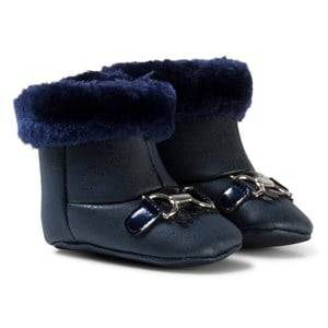 Mayoral Girls Boots Navy Navy Patent Faux Fur Cuffed Boots with Gold Bow