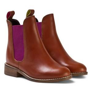 Tom Joule Girls Boots Beige Tan Leather Chelsea Boots