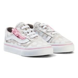 Vans Girls Sneakers Beige Polka Dot Old Skool Zip Shoes Wind Chime