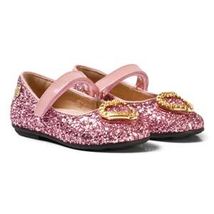 Moschino Kid-Teen Girls Shoes Pink Pink Glitter and Patent Leather Heart Pumps