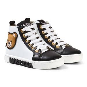 Moschino Kid-Teen Unisex Sneakers White White and Black Bear Print Zip Trainers