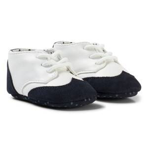 United Colors of Benetton Boys Shoes Blue Leather Look Shoes With Faux Suede Trims Navy&White