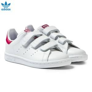 adidas Originals Girls Sneakers White White and Pink Kids 3V Stan Smith Trainers