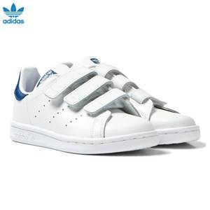 adidas Originals Boys Sneakers White Kids Stan Smith Trainers White and Blue
