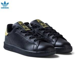 adidas Originals Unisex Sneakers Black Black and Gold Stan Smith Kids Trainers
