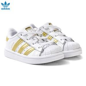 adidas Originals Unisex Sneakers White White and Gold Superstar Infant Trainers