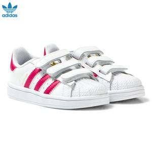 adidas Originals Girls Sneakers White White and Pink Superstar Velcro Trainers