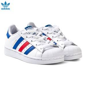 adidas Originals Unisex Sneakers White Superstar Kids Trainers White, Navy and Red