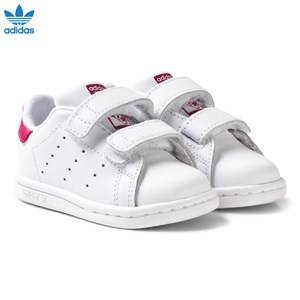 adidas Originals Girls Sneakers White White and Pink Stan Smith Infant Trainers