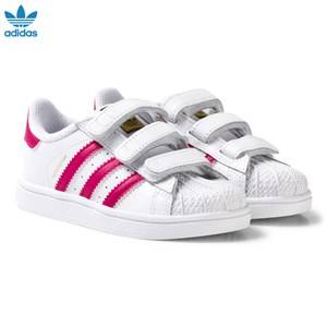 adidas Originals Girls Sneakers White White and Pink Superstar Infant Trainers