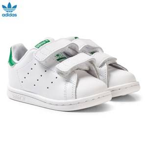 adidas Originals Unisex Sneakers White White and Green Stan Smith Infants Velcro Sneakers