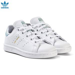 adidas Originals Girls Sneakers White Kids Stan Smith Trainers White and Mint Green