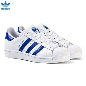 adidas Originals Boys Sneakers White White and Blue Junior Superstar Trainers