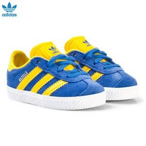adidas Originals Boys Sneakers Blue Blue and Yellow Gazelle Infant Trainers