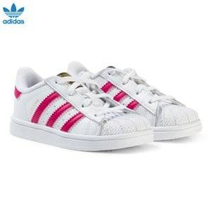 adidas Originals Girls Sneakers White White and Pink Infants Superstar Trainers
