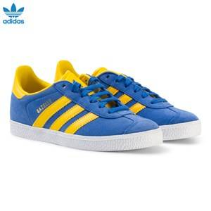 adidas Originals Boys Sneakers Blue Blue and Yellow Gazelle Kids Trainers