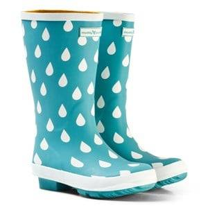 Muddy Puddles Unisex Boots Green Pale Green and White Raindrop Puddlestomper Wellies