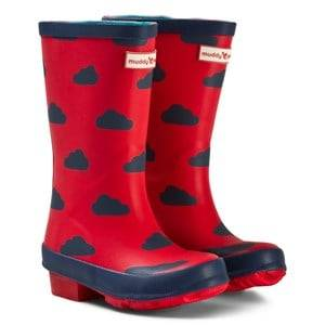 Muddy Puddles Unisex Boots Red Red and Navy Cloud Puddlestomper Wellies