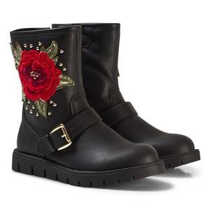 Lelli Kelly Girls Boots Black Black Leather Matilde Rose Ankle Boots